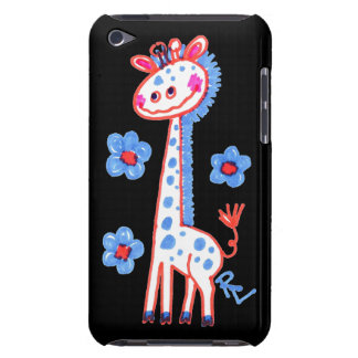 Smiling, Happy Giraffe  Black Background iPod Touch Cover