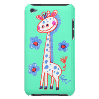 Smiling, Happy Giraffe  Mint Green Background iPod Touch Case