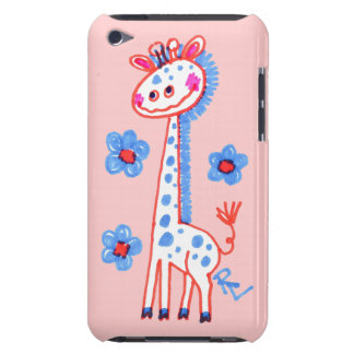 Smiling, Happy Giraffe  Pink Background iPod Touch Case