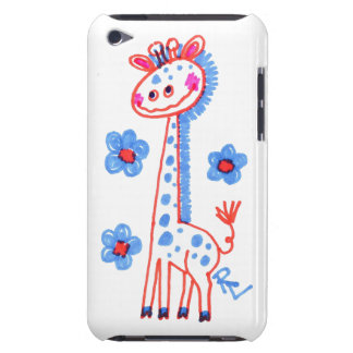 Smiling, Happy Giraffe  Purple Background iPod Touch Case-Mate Case