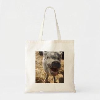 Smiling, Happy Mini Pig Tote Bag