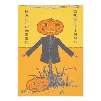 Smiling Happy Scarecrow Jack O' Lantern 13 Cm X 18 Cm Invitation Card