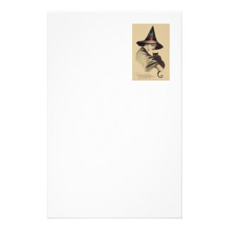 Smiling Happy Witch Black Cat Stationery Paper