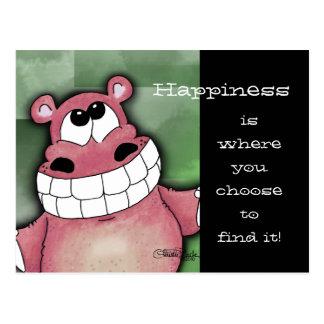 Smiling Hippo-Pink Postcard