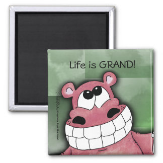 Smiling Hippo-Pink Square Magnet