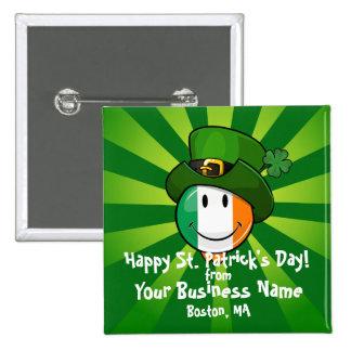 Smiling Irish Flag Wearing a Leprechaun Hat 15 Cm Square Badge