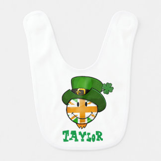 Smiling irish Union Jack Flag in a Leprechaun Hat Baby Bibs