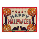 Smiling Jack O Lantern Pumpkin Black Cat Apples Greeting Card