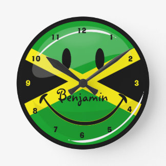 Smiling Jamaican Flag Round Clock