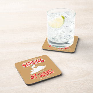 SMILING JET SKIING W/END (wht) Drink Coaster