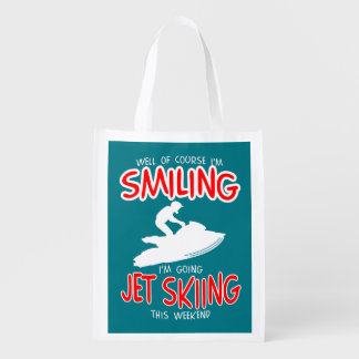 SMILING JET SKIING W/END (wht) Reusable Grocery Bag