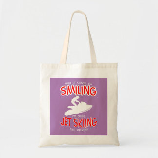 SMILING JET SKIING W/END (wht) Tote Bag