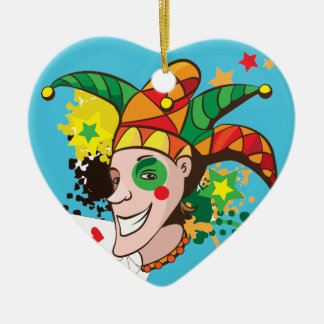 Smiling joker with cards ceramic heart decoration