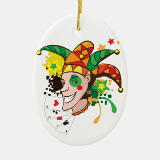 Smiling joker with cards ceramic oval decoration