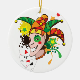 Smiling joker with cards round ceramic decoration