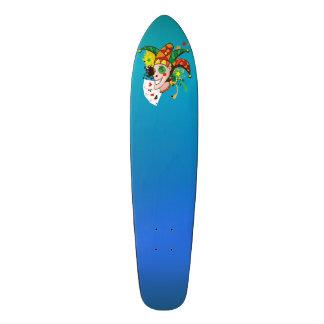 Smiling joker with cards skateboard deck