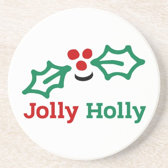 Smiling Jolly Holly Berries and Leaves Coaster