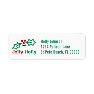 Smiling Jolly Holly Berries Return Address Label