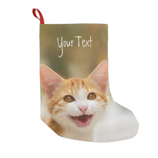 Smiling Kitten Funny Cat Meow Personalized Santa Small Christmas Stocking