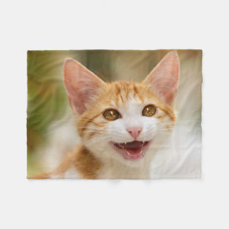 Smiling Kitten Funny Meow cozy Fleece Blanket