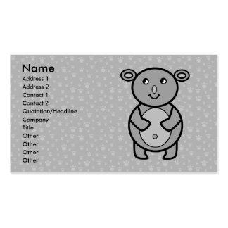 Smiling Koala on paw pattern Business Card Templates