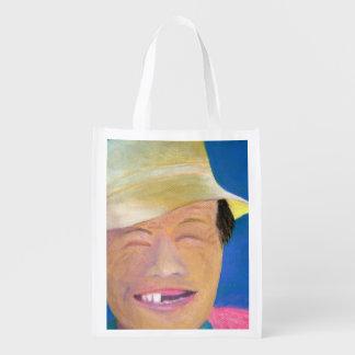 Smiling Korean Farmer Reusable Grocery Bag