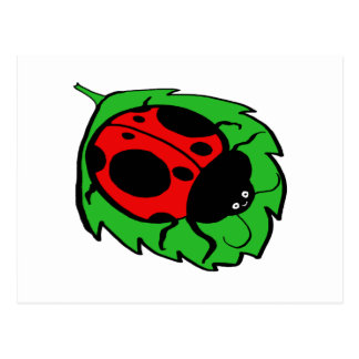 Smiling Ladybug on a Green Leaf Postcard