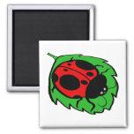 Smiling Ladybug on a Green Leaf Square Magnet
