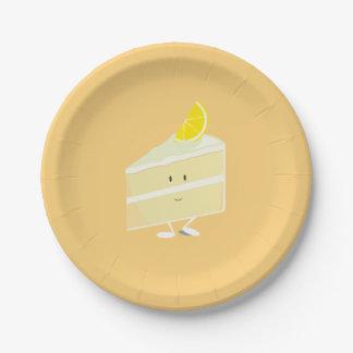 Smiling lemon cake slice paper plate