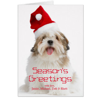 Smiling Lhasa Apso Dog Wearing Santa Hat Card