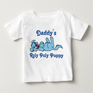 Smiling Light Blue Puppy Dog Roll Over Baby T-Shirt