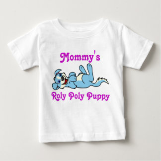 Smiling Light Blue Puppy Dog with Blaze Roll Over Baby T-Shirt
