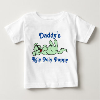 Smiling Light Green Puppy Dog Roll Over Baby T-Shirt