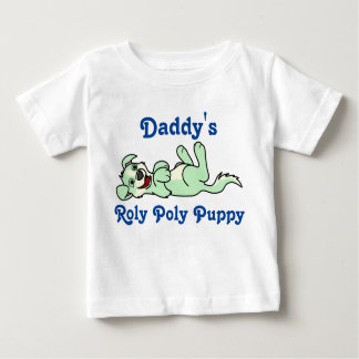Smiling Light Green Puppy Dog with Blaze Roll Over Baby T-Shirt