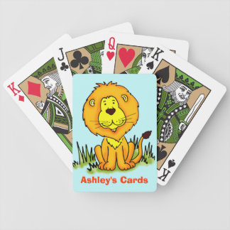 Smiling Lion named kids playing cards