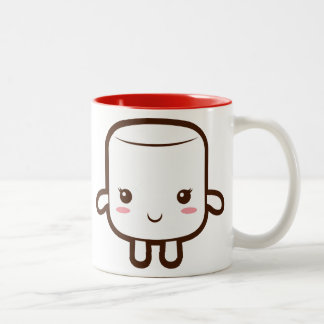 Smiling marshmallow Two-Tone coffee mug