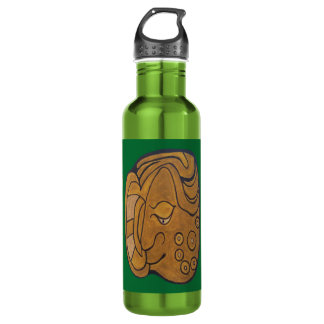 SMILING MAYAN MEDALLION- MIDNIGHT GREEN- CANCUN 710 ML WATER BOTTLE