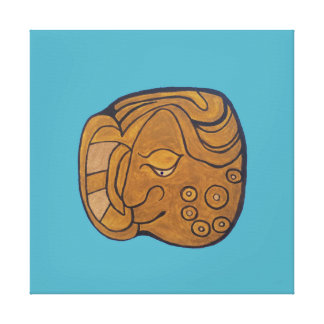 SMILING MAYAN MEDALLION- TURQUIOSE BACKGROUND CANVAS PRINT