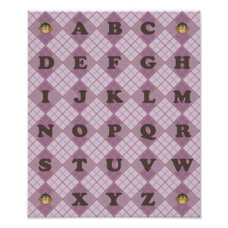 Smiling monkeys alphabet girly pink plaid pattern poster