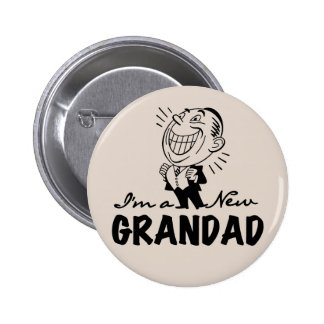 Smiling New Grandad T-shirts and Gifts Buttons