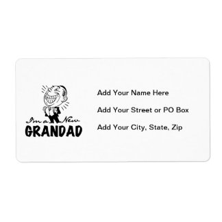 Smiling New Grandad T-shirts and Gifts Shipping Label