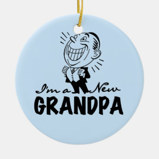 Smiling New Grandpa T-shirts and Gifts Round Ceramic Decoration