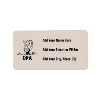 Smiling New Opa T-shirts and Gifts Address Label