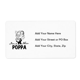 Smiling New Poppa T-shirts and Gifts Shipping Label