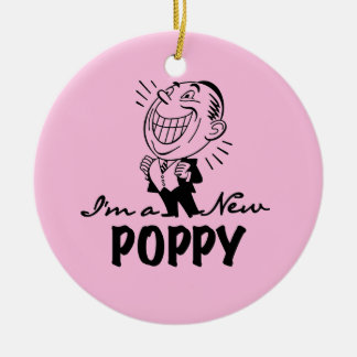 Smiling New Poppy T-shirts and Gifts Round Ceramic Decoration