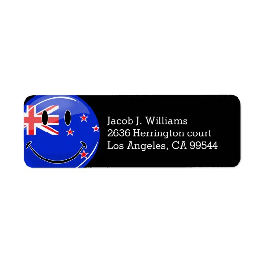 Smiling New Zealand Flag Return Address Label