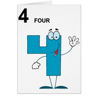 Smiling Number 4 Greeting Cards
