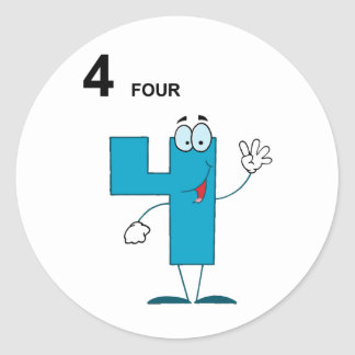 Smiling Number 4 Stickers
