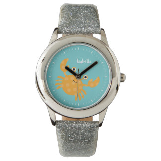 Smiling Orange Crab Kid's Personalized Wrist Watches