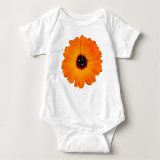 Smiling Orange Flower Baby Bodysuit